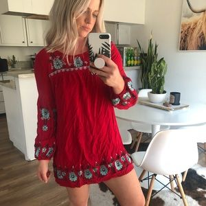 Red embroidered cover up